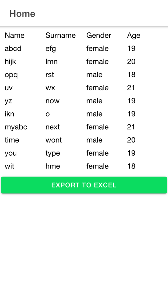 IONIC ANGULAR EXPORT  EXCEL, Data table to export